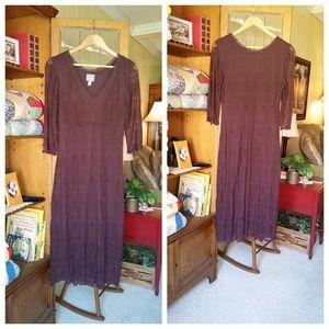 Vintage Chocolate Brown Rabbit Designs Lace Dress